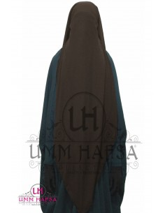 Niqab/Sitar 3 voiles Umm Hafsa 95cm- Marron