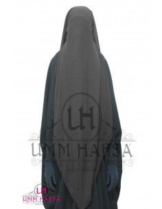 Three Layer Flap Niqab Cap Umm Hafsa - Grey