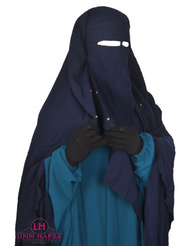 Niqab/Sitar cape à clips Umm Hafsa 1m60 - Bleu