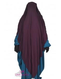Niqab/Sitar cape à clips Umm Hafsa 1m60 - Prune