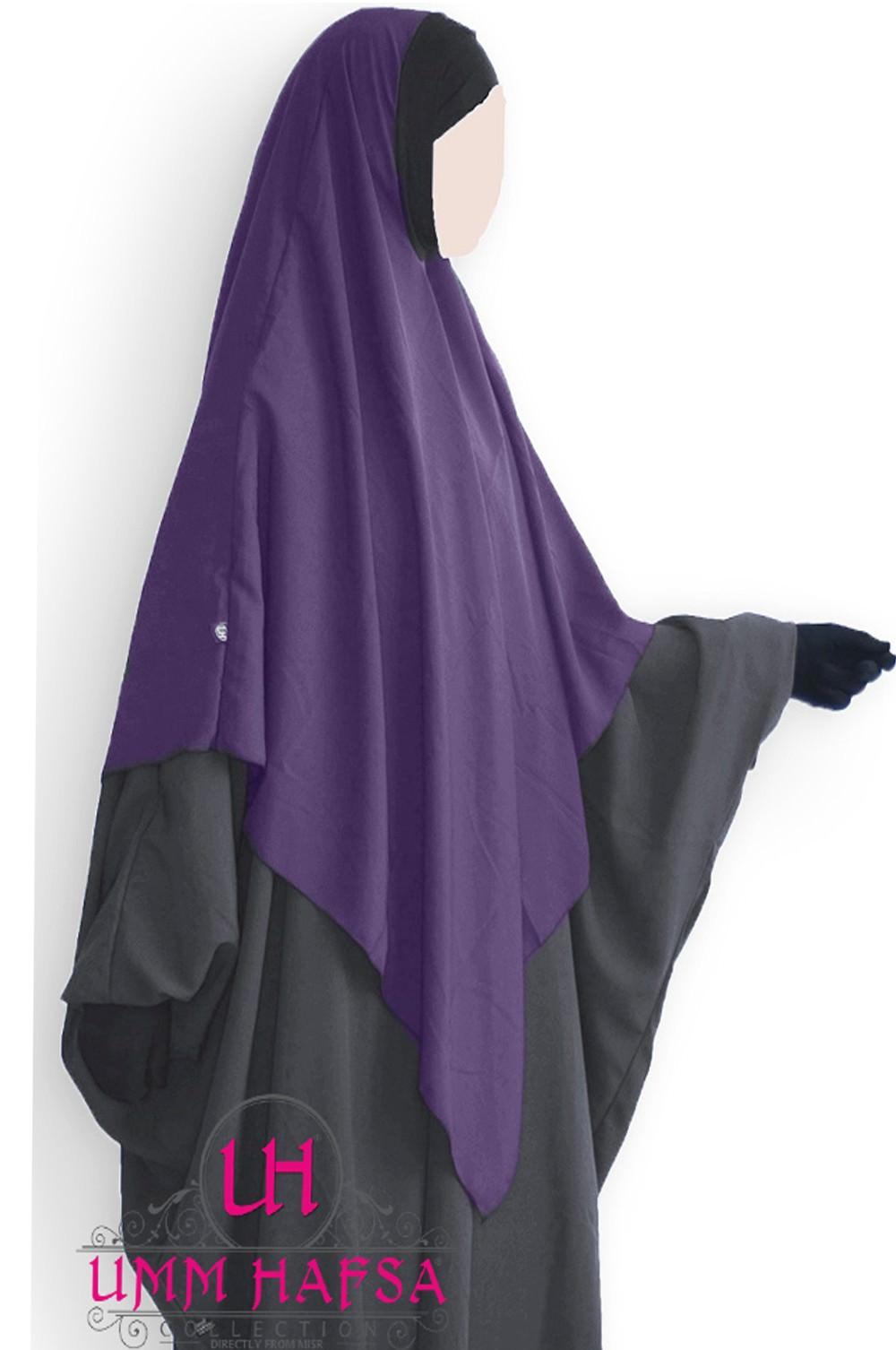 Hijab / Khimar Lycra Umm Hafsa - Aubergine