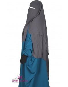Three Layer Flap Niqab 1m50 Umm Hafsa - Grey