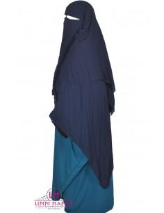 Three Layer Flap Niqab 1m50 Umm Hafsa - Blue