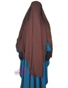 Niqab/Sitar cape à clips Umm Hafsa 1m60 - Marron