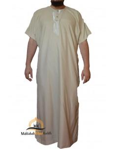 jalabiya men short sleeves- Beige