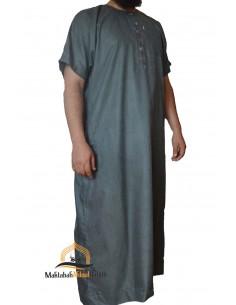 jalabiya men short sleeves - blue