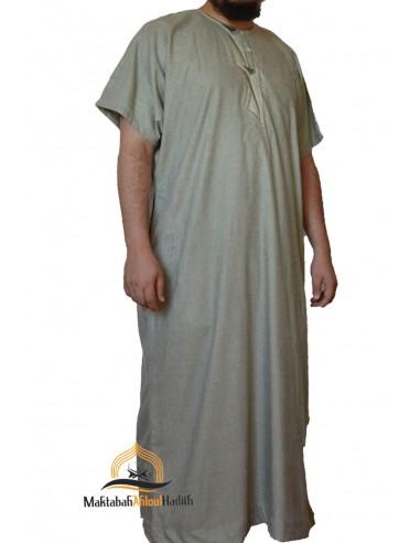 Qamis homme manche courte - Gris clair