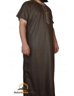 jalabiya men short sleeves - Brown