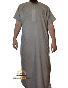 jalabiya men short sleeves - Light brown