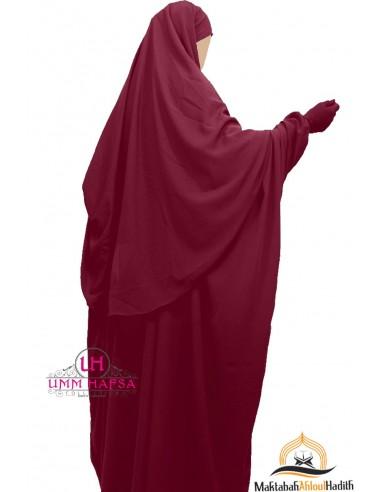 Abaya/Hijab Cape Umm Hafsa - Burgundy