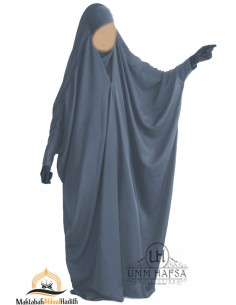 "Saudi Jilbab With Snap Buttons Umm Hafsa ""Luxury Caviary"" - Grey"