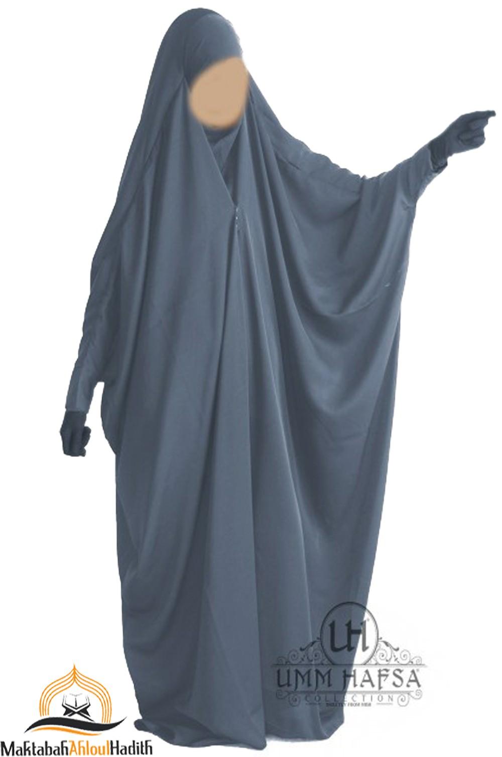 "Jilbab saoudien à clips ""Caviary luxe"" - Gris"