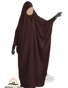"Jilbab saoudien à clips Umm Hafsa ""Caviary luxe"" - Marron"