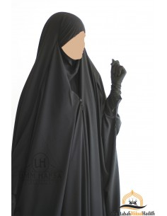 "Saudi Jilbab With Snap Buttons Umm Hafsa ""Luxury Caviary"" - Black"