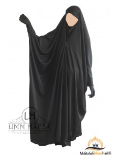 "Saudi Jilbab With Snap Buttons Umm Hafsa ""Luxury Nidha"" - Black"