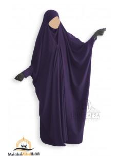Saudi Jilbab With Snap Buttons Umm Hafsa - Eggplant