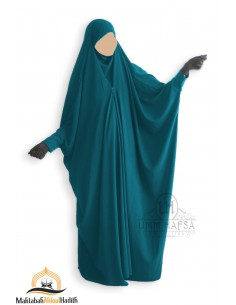 Saudi Jilbab With Snap Buttons Umm Hafsa - Green Duck