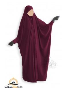 Saudi Jilbab mit Druckknöpfen Umm Hafsa - Burgund