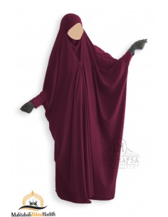 Saudi Jilbab With Snap Buttons Umm Hafsa - Burgundy