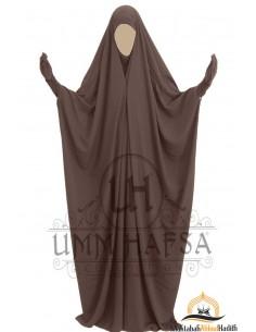 Saudi Jilbab mit Druckknöpfen Umm Hafsa - Braun