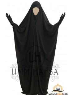 Saudi Jilbab With Snap Buttons Umm Hafsa - Black