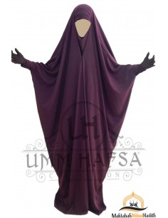 Saudi Jilbab With Snap Buttons Umm Hafsa - Purple