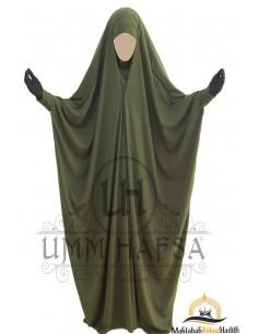 Saudi Jilbab mit Druckknöpfen Umm Hafsa - Khaki