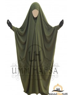 Saudi Jilbab With Snap Buttons Umm Hafsa - Green
