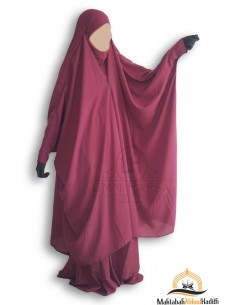 Jilbab 2 pieces à clips Umm Hafsa - Burgundy