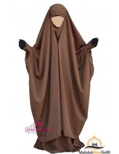 """Jilbab 2 pieces à clips """"jupe"""" Umm Hafsa - Cannelle"""