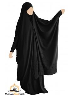 "Two Piece Jilbab Snap Buttons ""Skirt"" Umm Hafsa ""Luxury Nidha"" - Black"