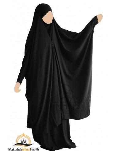 """Jilbab 2 pièces à clips """" Nidha luxe """" - Black"""