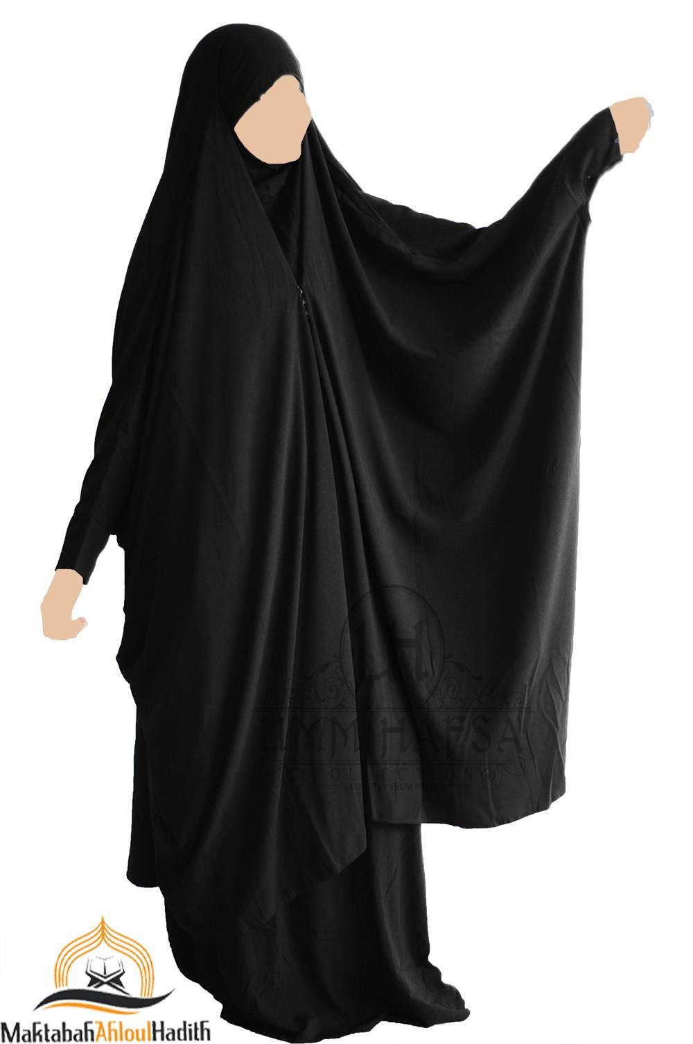 """Jilbab 2 pieces à clips """"jupe"""" Umm Hafsa """" Nidha luxe """" - Noir"""