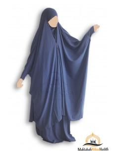 "Jilbab 2 pieces à clips ""jupe"" Umm Hafsa ""Caviary Luxe"" - Bleu marine"