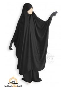 "Jilbab 2 pieces à clips ""jupe"" Umm Hafsa - Noir"