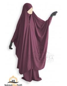 "Jilbab 2 pieces à clips ""jupe"" Umm Hafsa  ""Caviary Luxe"" - Prune"