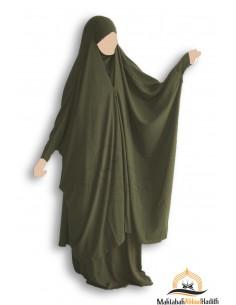 "Jilbab 2 pieces à clips ""jupe"" Umm Hafsa ""Caviary Luxe"" -  Kaki"
