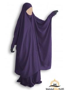 "Jilbab 2 pieces à clips ""jupe"" Umm Hafsa - Aubergine"