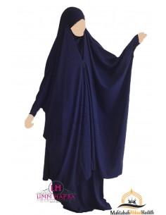 Jilbab 2 pieces à clips Umm Hafsa - Bleu