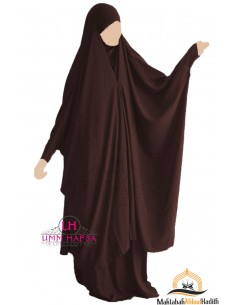 "Jilbab 2 pieces à clips ""jupe"" Umm Hafsa - Marron"