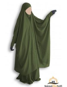 "Jilbab 2 pieces à clips ""jupe"" Umm Hafsa - Vert kaki"