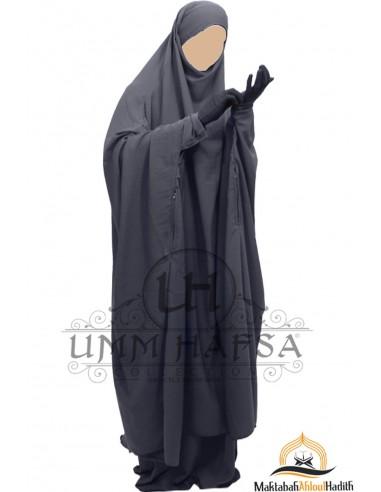 Jilbeb à zip Umm Hafsa - Gris