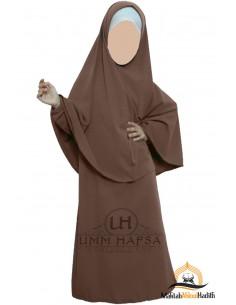 Abaya Hijab Mädchen Umm hafsa - Braun
