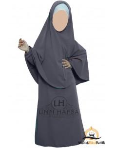 Abaya Hijab Mädchen Umm hafsa - Grau