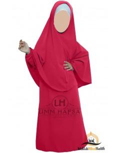 Abaya Hijab Mädchen Umm hafsa - Korallenfarbe