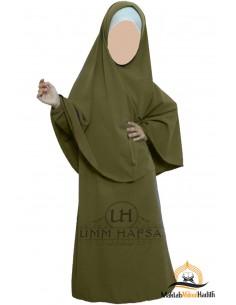 Abaya Hijab Mädchen Umm hafsa - Grüne Mandel