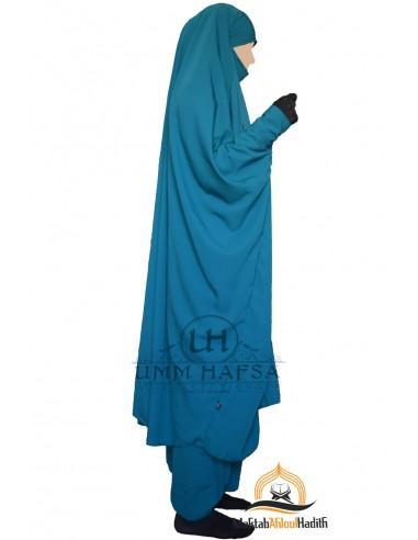 "Jilbab deux pieces à clips ""Sarouel"" Umm Hafsa- Vert canard"