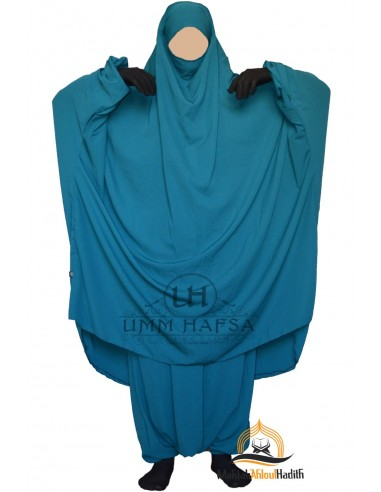 "Jilbab deux pieces Classique ""Sarouel"" Umm Hafsa-  Vert canard"