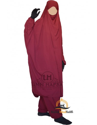 """Jilbab deux pieces Classique """"Sarouel"""" Umm Hafsa-  Bordeaux"""
