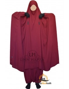 "Two Piece Jilbab Snap Buttons ""Sirwel"" Umm Hafsa - Burgundy"